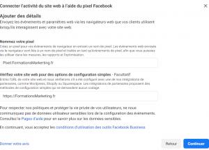 remplissez les infos pour creer votre pixel Facebook
