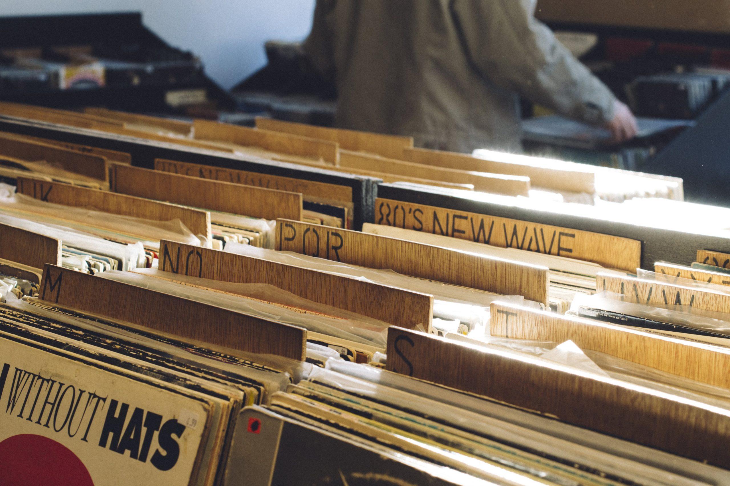 light shining on vinyl records scaled