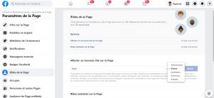 Rôle pour gérer une page Facebook